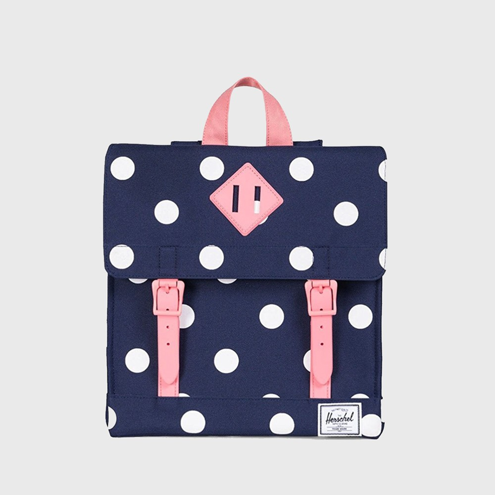Herschel Supply Co. Survey Kids Backpack - Peacoat Polka Dot / Strawberry  Ice