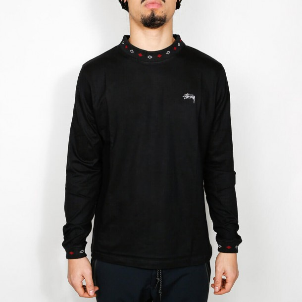 Stussy Diamond Collar L/SL Crew Black-01