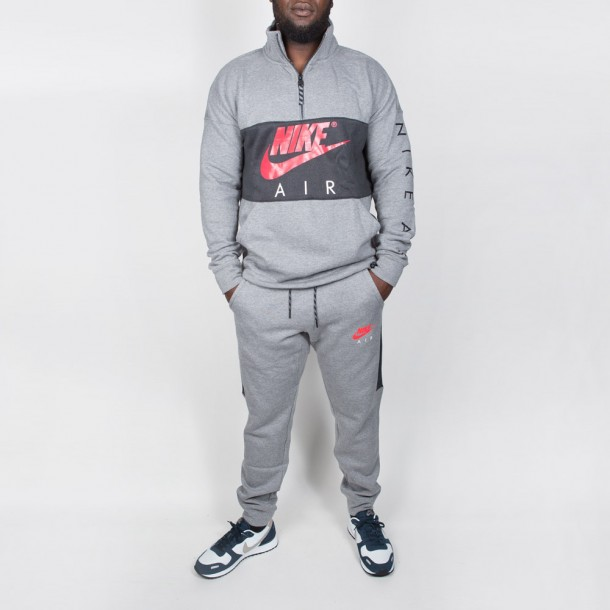 Nike Air Top Fleece Carbon Heather / Anthracite / Siren Red-01