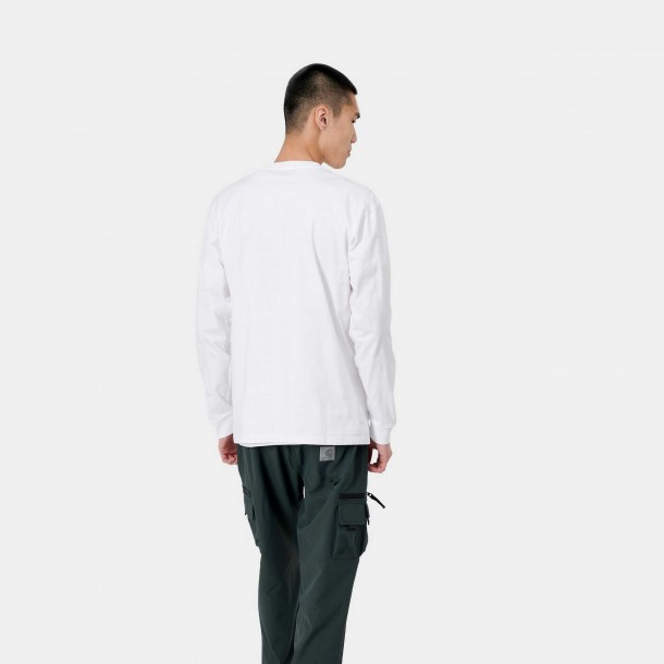 Carhartt WIP L/S Chase T-Shirt White / Gold-01