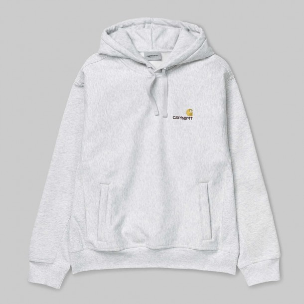 Carhartt WIP Hooded American Script Sweat Ash Heather-01