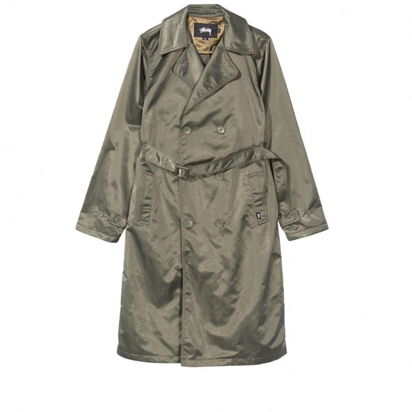 Stussy Flight Satin Trench Coat Olive-01