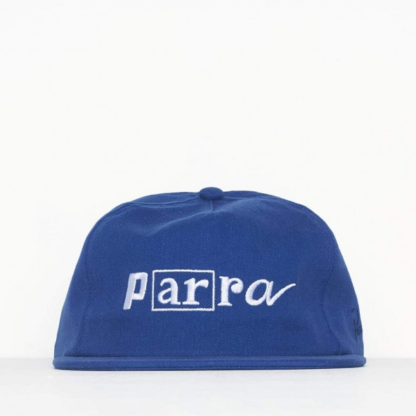 By Parra 5 Panel Hat Script Box Logo Blue-01