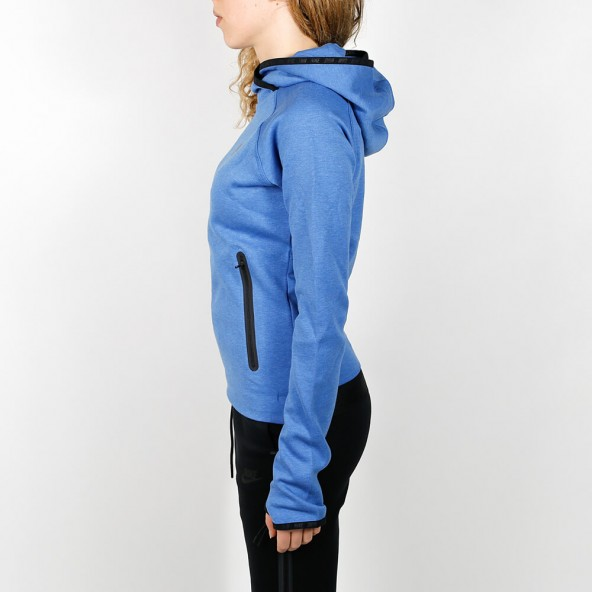 Nike Wmns Tech Fleece Funnel Hoodie Blue-01