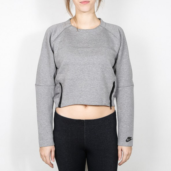 Nike Wmns Tech Fleece Aeroloft Crew Carbon Heather / Black-01