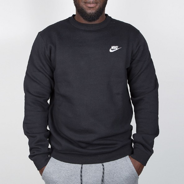 Nike Crew FT Club Pullover Black / White-01