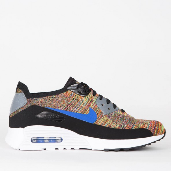 Nike Wmns Air Max 90 Ultra 2.0 Flyknit Black / Medium Blue Cool Grey White-01