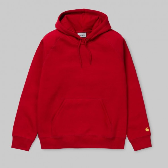 Carhartt WIP Hooded Chase Sweat Blast Red / Gold-01