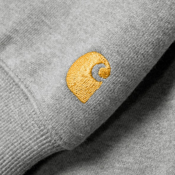 Carhartt WIP Hooded Chase Sweat Grey Heather / Gold-01