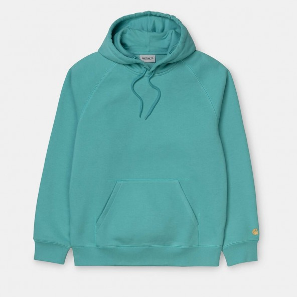 Carhartt WIP Hooded Chase Sweat Frosted Turquoise / Gold-01