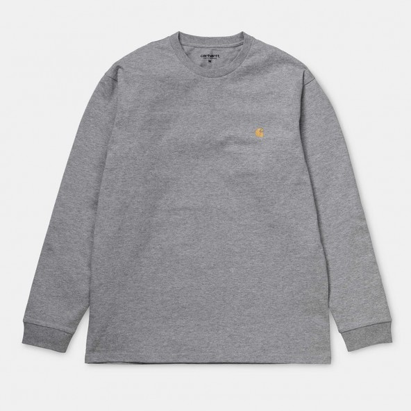 Carhartt WIP L/S Chase T-Shirt Grey Heather / Gold-01