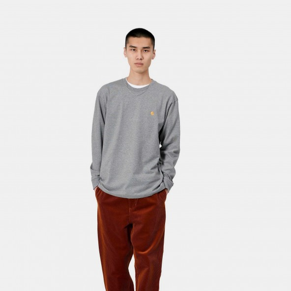 Carhartt WIP L/S Chase Shirt Grey Heather / Gold-01