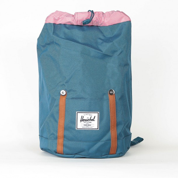 Herschel Supply Co. Retreat Backpack Indian Teal / Tan Synthetic Leather-01