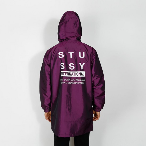 Stussy Long Hooded Choach Jacket Purple-01