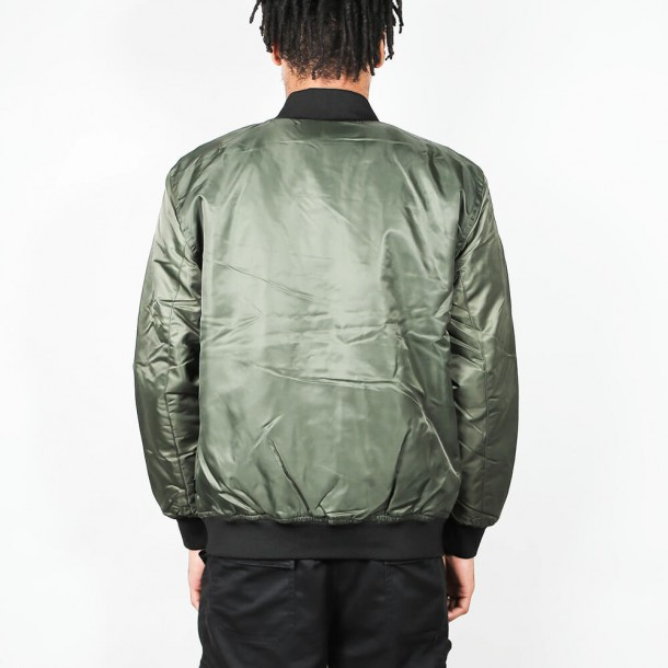 Stussy Flight Satin Bomber Jacket Olive-01