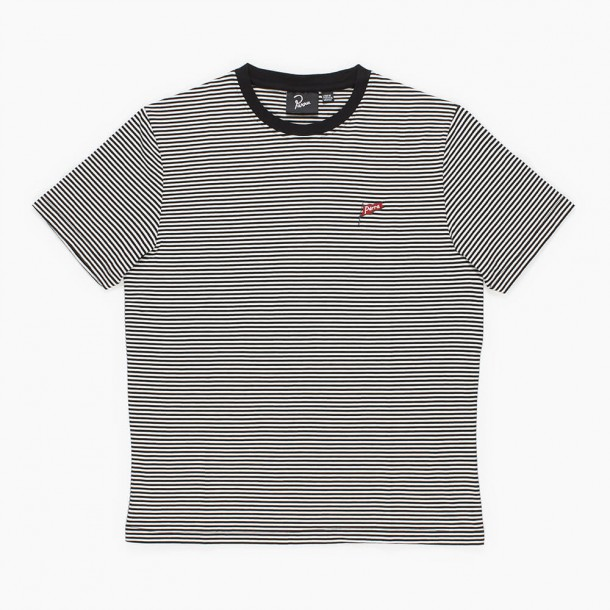 By Parra Flapping Flag Striped T-Shirt Black / White-01