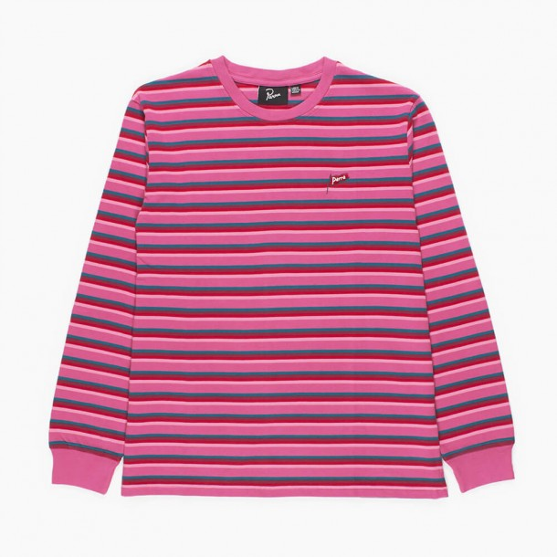 By Parra Flapping Flag Striped Longsleeve T-Shirt Pink-01