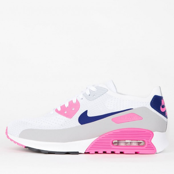 95bcec341c Nike Wmns Air Max 90 Ultra 2.0 Flyknit White / Concord Laser Pink Black-01