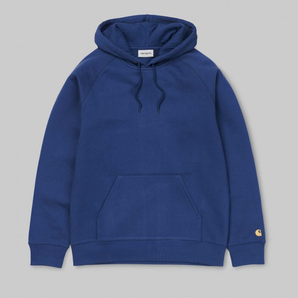 Carhartt WIP Hooded Chase Sweat Metro Blue / Gold-31