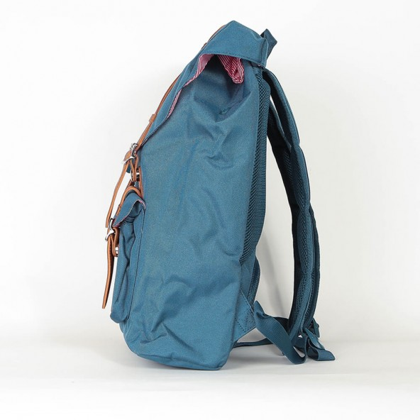 Herschel Supply Co. Little America Mid-Volume Backpack Indian Teal / Tan Synthetic Leather-01