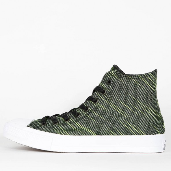 Converse Chuck Taylor All Star II Knit Hi - Black / Volt Green / White •  stickabush.com
