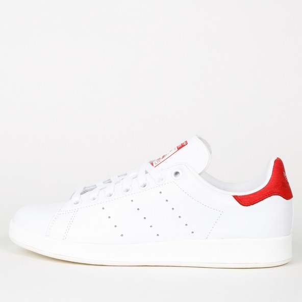 Adidas Stan Smith Luxe W - White / White / Collegiate Red • stickabush.com